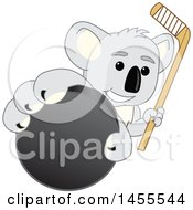 Koala Bear School Mascot Character Holding A Hockey Stick And Grabbing A Puck