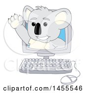 Koala Bear School Mascot Character Waving And Emerging From A Computer