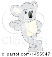 Clipart Of A Koala Bear School Mascot Character Leaning Royalty Free Vector Illustration