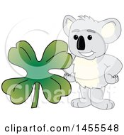 Koala Bear School Mascot Character With A St Patricks Day Four Leaf Clover