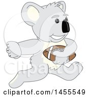 Clipart Of A Koala Bear School Mascot Character Running With A Football Royalty Free Vector Illustration