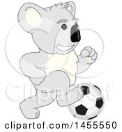 Clipart Of A Koala Bear School Mascot Character Playing Soccer Royalty Free Vector Illustration