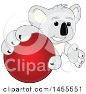 Koala Bear School Mascot Character Grabbing A Red Ball