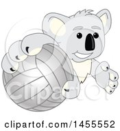 Clipart Of A Koala Bear School Mascot Character Grabbing A Volleyball Royalty Free Vector Illustration