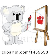 Poster, Art Print Of Koala Bear School Mascot Character Artist Painting A Canvas