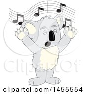 Clipart Of A Koala Bear School Mascot Character Singing Royalty Free Vector Illustration