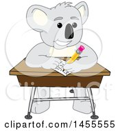 Koala Bear School Mascot Character Student Writing At A Desk