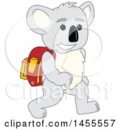 Koala Bear School Mascot Character Student Walking