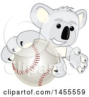 Clipart Of A Koala Bear School Mascot Character Grabbing A Baseball Royalty Free Vector Illustration by Toons4Biz