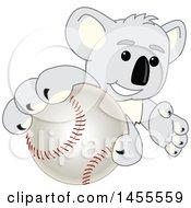 Poster, Art Print Of Koala Bear School Mascot Character Grabbing A Baseball