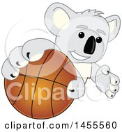 Clipart Of A Koala Bear School Mascot Character Grabbing A Basketball Royalty Free Vector Illustration