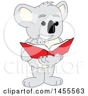 Clipart Of A Koala Bear School Mascot Character Reading A Book Royalty Free Vector Illustration