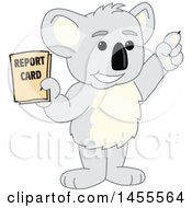 Clipart Of A Koala Bear School Mascot Character Student Holding A Report Card Royalty Free Vector Illustration by Toons4Biz