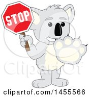 Clipart Of A Koala Bear School Mascot Character Gesturing Stop And Holding A Sign Royalty Free Vector Illustration