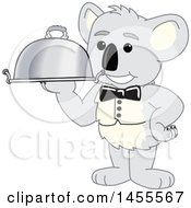 Clipart Of A Koala Bear School Mascot Character Waiter Holding A Cloche Platter Royalty Free Vector Illustration