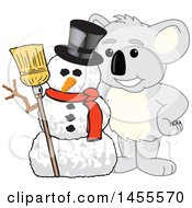 Clipart Of A Koala Bear School Mascot Character With A Christmas Winter Snowman Royalty Free Vector Illustration