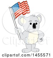 Clipart Of A Koala Bear School Mascot Character Holding An American Flag Royalty Free Vector Illustration