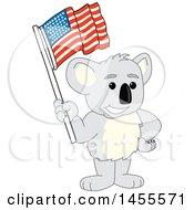 Poster, Art Print Of Koala Bear School Mascot Character Holding An American Flag