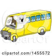 Koala Bear School Mascot Character Driving A Bus