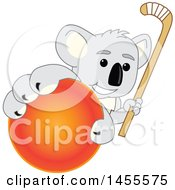 Koala Bear School Mascot Character Holding A Hockey Stick And Grabbing A Field Ball