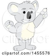 Clipart Of A Koala Bear School Mascot Character Holding Up A Finger Royalty Free Vector Illustration