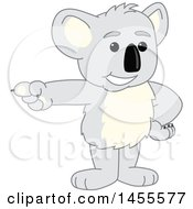 Clipart Of A Koala Bear School Mascot Character Pointing Royalty Free Vector Illustration by Toons4Biz