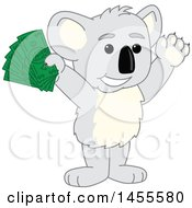 Clipart Of A Koala Bear School Mascot Character Holding Up Cash Money Royalty Free Vector Illustration