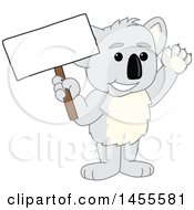 Clipart Of A Koala Bear School Mascot Character Holding A Blank Sign Royalty Free Vector Illustration