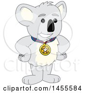 Koala Bear School Mascot Character Champion Wearing A Medal