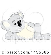 Clipart Of A Koala Bear School Mascot Character Resting On His Side Royalty Free Vector Illustration