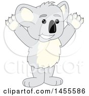 Clipart Of A Koala Bear School Mascot Character Cheering Royalty Free Vector Illustration by Toons4Biz