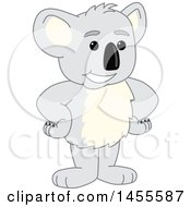 Clipart Of A Koala Bear School Mascot Character Standing With Hands On Hips Royalty Free Vector Illustration