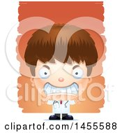 Clipart Of A 3d Mad White Boy Doctor Surgeon Over Strokes Royalty Free Vector Illustration