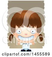 Clipart Of A 3d Grinning White Girl Doctor Surgeon Over Strokes Royalty Free Vector Illustration