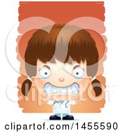 Clipart Of A 3d Mad White Girl Doctor Surgeon Over Strokes Royalty Free Vector Illustration
