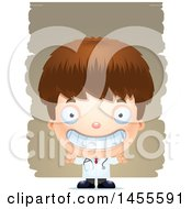 Clipart Of A 3d Grinning White Boy Doctor Surgeon Over Strokes Royalty Free Vector Illustration