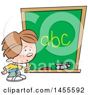 Cartoon Caucasian School Boy Writing The Alphabet On A Chalkboard