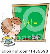 Poster, Art Print Of Cartoon Caucasian School Boy Solving A Math Problem On A Chalkboard