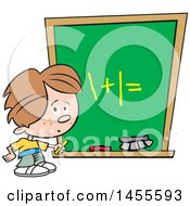 Cartoon Caucasian School Boy Solving A Math Problem On A Chalkboard