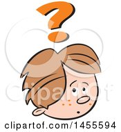 Clipart Of A Cartoon Caucasian Boy Questioning Royalty Free Vector Illustration
