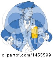 Drawing Sketched Styled American Patriot Soldier Holding A Beer Mug In A Blue Circle