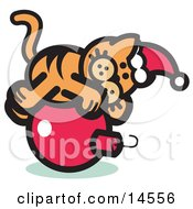 Orange Cat Wearing A Santa Hat And Lying On A Red Christmas Bauble Ornament Clipart Illustration