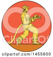 Clipart Of A Drawing Sketched Styled Fireman Holding A Hose In A Circle Royalty Free Vector Illustration