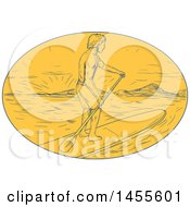 Clipart Of A Drawing Sketched Styled Man Paddle Boarding At Sunset In A Yellow Oval Royalty Free Vector Illustration by patrimonio