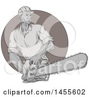 Clipart Of A Drawing Sketched Styled Lumberjack Holding A Chainsaw In A Circle Royalty Free Vector Illustration