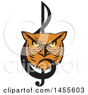 Clipart Of A Retro Great Horned Owl Face In A Music Clef Note Royalty Free Vector Illustration by patrimonio
