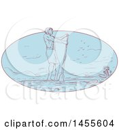 Clipart Of A Drawing Sketched Styled Man Paddle Boarding In A Blue Oval Royalty Free Vector Illustration by patrimonio