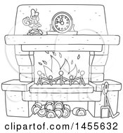 Clipart Of A Black And White Candle And Mantle Clock Over A Fireplace Royalty Free Vector Illustration