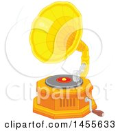 Clipart Of A Phonograph Gramophone Playing A Vinyl Record Royalty Free Vector Illustration by Alex Bannykh