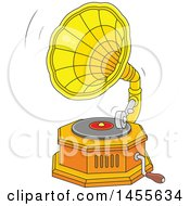 Clipart Of A Cartoon Phonograph Gramophone Playing A Vinyl Record Royalty Free Vector Illustration by Alex Bannykh